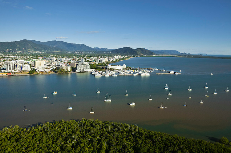 Aerial view of waterfront and city centre.  Cairns, Queensland, Australia