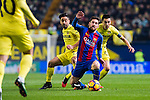 Lionel Andres Messi (c) of FC Barcelona battles for the ball with Jaume Vicent Costa Jordá (l) and Bruno Soriano Llido of Villarreal CF during their La Liga match between Villarreal and FC Barcelona at the Estadio de la Cerámica on 08 January 2017 in Villarreal, Spain. Photo by Maria Jose Segovia Carmona / Power Sport Images