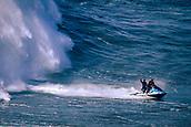 6th January 2018, Praia do Norte, Nazaré , Portugal;  Alex Botelho celebrates having succeeded in riding a giant wave
