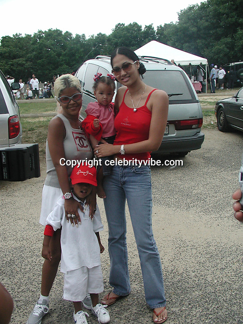 Kimora Lee, Mika, & Kids.Bad Boy vs. Rocafella Baseball Game.To benefit disadvantaged kids.Stony Park.Easthampton, NY.July 4th, 2001.Photo by Celebrityvibe.com..