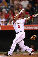 Albert Pujols #5 of the Los Angeles Angels bats against the Baltimore Orioles at Angel Stadium on April 20, 2012 in Anaheim,California. Los Angeles defeated Baltimore 6-3.(Larry Goren/Four Seam Images)