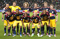 CARSON, CA - November 3, 2011: NY Red Bull starting line up for the match between LA Galaxy and NY Red Bulls at the Home Depot Center in Carson, California. Final score LA Galaxy 2, NY Red Bulls 1.