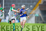Kerry's Jack Goulding and Limerick's Seamus Hickey in high speed action during their NHL Div 1B clash in Fitzgerald Stadium on Sunday