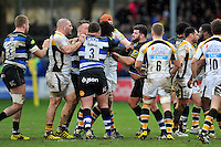 Ashley Johnson of Wasps gets to know Rob Webber of Bath Rugby. Aviva Premiership match, between Bath Rugby and Wasps on February 20, 2016 at the Recreation Ground in Bath, England. Photo by: Patrick Khachfe / Onside Images