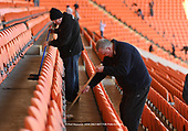 05/03/2019 Volunteers from Blackpool Supporters Trust set to cleaning the Bloomfield Stadium<br /> seats and stands ahead Saturdays near sell out fixture against Southend United. For many fans this will be the first time in four years that they have attended a home fixture following the removal of the Owen Oyston