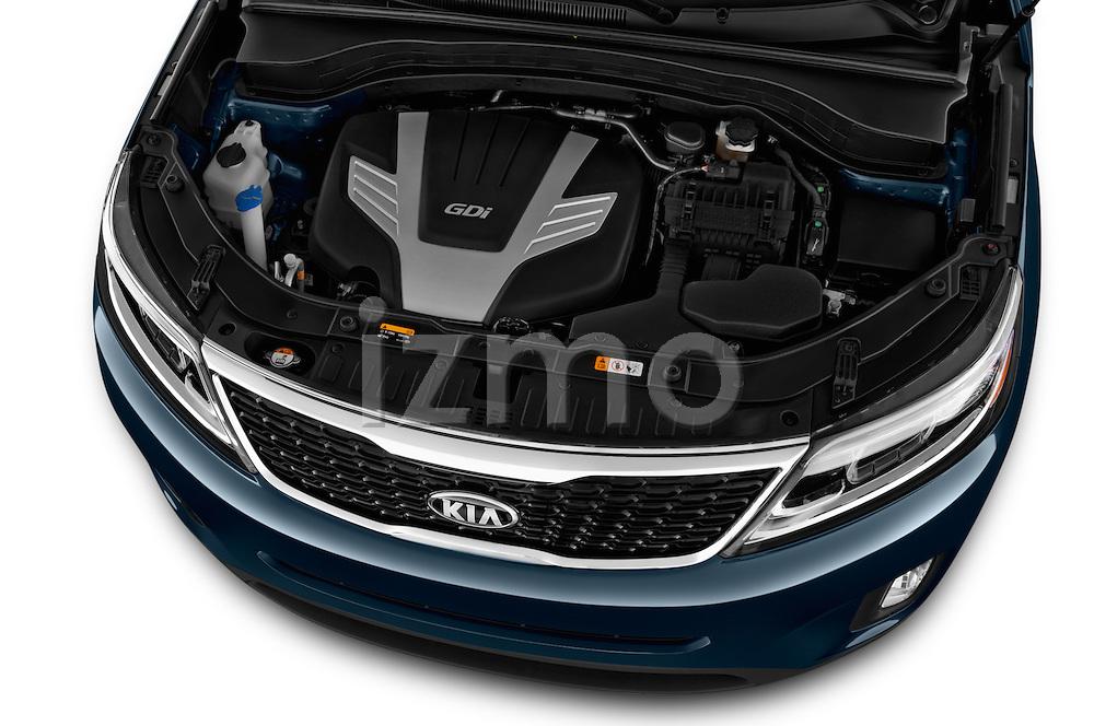 Car Stock 2015 KIA Sorento EX V6 AT 5 Door Suv 2WD Engine high angle detail view