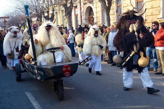 Buso on the Sunday procession of the Busojaras Spring  festival 2010 Mohacs Hungary - Stock photos
