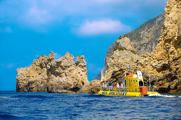 Sea Discovery submarine off the cliffs of Paleokastritsa Corfu, Greek Ionian Islands