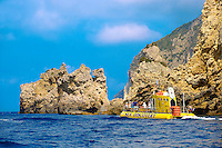 Sea Discovery submarine off the cliffs of Paleokastritsa Corfu, Greek Ionian Islands