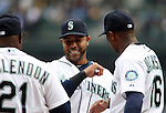Seattle Mariners' designated hitter Nelson Cruz  smiles during introductions before their game against theLos Angeles Angels in the  season home opener April 6, 2015 at Safeco Field in Seattle.  The Mariners beat the Angels 4-1.       ©2015. Jim Bryant Photo. ALL RIGHTS RESERVED.