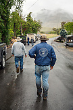 USA, Oregon, Imnaha, Cowboys Todd Nash and Cody Ross leave lunch at the Imnaha Store and Tavern, Northeast Oregon