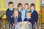 Pupils on their first day at Moyvane NS on Wednesday Front l-r: Caoimhe Kearney and Rian Quinn. Back l-r: Jack Monaghan, Aine Sheehy, Sea?n Pierce and Ava Fitzgerald. ... ....
