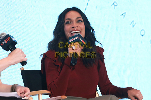 NEW YORK, NY - OCTOBER 5: Rosario Dawson speaks during the Audible Presents: Artemis panel during the 2017 New York Comic Con - Day 1 on October 5, 2017 in New York City. <br /> CAP/MPI/DIE<br /> &copy;DIE/MPI/Capital Pictures