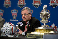 Ohio State head coach Jim Tressel talks to the reporters during the Head Coaches' Press Conference at Marriott at the Convention Center in New Orleans, Louisiana on January 3rd, 2011.