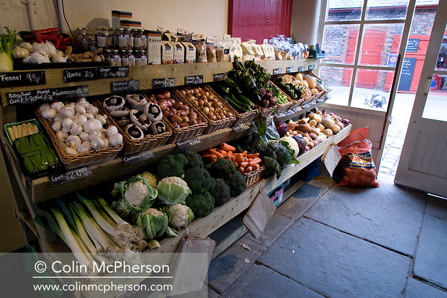 Vegetables on display for sale at the shop at Red House Farm in the Cheshire village of Dunham Massey, pictured for the Cheshire Food Trail.