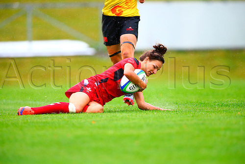 23.08.2015. Dublin, Ireland. Women's Sevens Series Qualifier 2015. Wales versus China<br /> Jasmine Joyce (Wales) goes over to score a try.