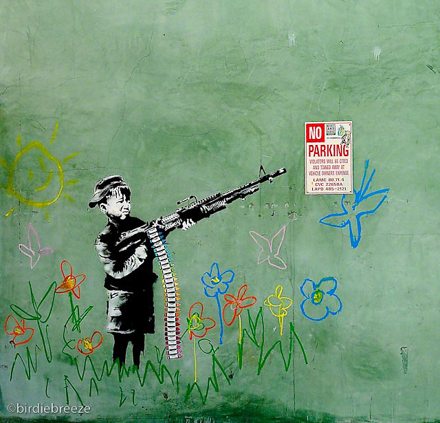 Banksy - Crayola Shooter<br /> Fine Art Bamboo Paper<br /> 17&quot; x 22&quot;