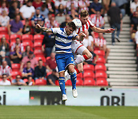 Queens Park Rangers' Ryan Manning and Stoke City's Nathan Collins <br /> <br /> Photographer Stephen White/CameraSport<br /> <br /> The EFL Sky Bet Championship - Stoke City v Queens Park Rangers - Saturday 3rd August 2019 - bet365 Stadium - Stoke-on-Trent<br /> <br /> World Copyright © 2019 CameraSport. All rights reserved. 43 Linden Ave. Countesthorpe. Leicester. England. LE8 5PG - Tel: +44 (0) 116 277 4147 - admin@camerasport.com - www.camerasport.com