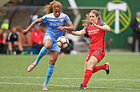 Portland, OR - Saturday April 29, 2017: Casey Short, Mallory Weber during a regular season National Women's Soccer League (NWSL) match between the Portland Thorns FC and the Chicago Red Stars at Providence Park.