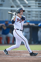 Bryce Ball (19) of the Danville Braves follows through on his swing against the Bluefield Blue Jays at American Legion Post 325 Field on July 28, 2019 in Danville, Virginia. The Blue Jays defeated the Braves 9-7. (Tracy Proffitt/Four Seam Images)