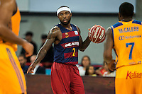 Herbalife Gran Canaria's playes Richard Hendrix and Bo McCalebb and FC Barcelona Lassa player Tyrese Rice during the final of Supercopa of Liga Endesa Madrid. September 24, Spain. 2016. (ALTERPHOTOS/BorjaB.Hojas) NORTEPHOTO.COM