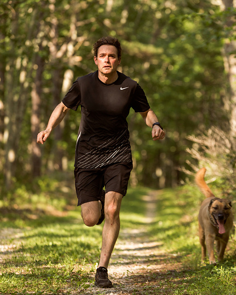 June 30, 2016. Blacksburg, Virginia. <br />  An avid runner, Marc Edwards runs approximately 40 miles a week on the trails and roads surrounding his home outside Blacksburg, VA.<br /> Marc Edwards is a civil engineering/environmental engineer and the Charles P. Lunsford Professor of Civil and Environmental Engineering at Virginia Tech. He is an expert in water quality and corrosion, and his work in Washington DC  and in Flint, Michigan helped to expose high levels of lead contamination in the water supplies of those two cities, triggering investigations into the cause of the pollution.
