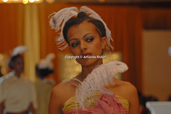A model in Ethiopian fashions during the Millennium Fashion Gala at the Hilton Hotel in Addis Ababa, Ethiopia on September 4, 2007.  An annual event showcasing Ethiopian fashions, the Fashion Gala raises money for a girls school near Addis Ababa, Ethiopia.