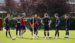 David Weir taking the Rangers defenders through a seperate training session