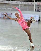 CALI - COLOMBIA - 19 - 09 - 2015: Katherine Castro, deportista de Colombia, durante la prueba de Solo Danza Obligatorias Damas Juvenil, en el LX Campeonato Mundial de Patinaje Artistico, en el Velodromo Alcides Nieto Patiño de la ciudad de Cali. / Katherine Castro, sportwoman of Colombia, during the Compulsory Solo Dance Junior Ladies  test, in the LX World Championships  Figure Skating, at the Alcides Nieto Patiño Velodrome in Cali City. Photo: VizzorImage / Luis Ramirez / Staff.