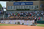 4 JUNE 2016: Nova Southeastern University players line up on the foul line for the National Anthem during the Division II Men's Baseball Championship between Millersville University and Nova Southeastern University at the USA Baseball National Training Complex in Cary, NC.  Nova Southeastern University defeated Millersville University 8-6 to win the national title. Grant Halverson/NCAA Photos