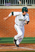 Justin Seager #10 of the Charlotte 49ers hustles down the first base line against the Tennessee Tech Golden Eagles at Robert and Mariam Hayes Stadium on March 8, 2011 in Charlotte, North Carolina.  Photo by Brian Westerholt / Four Seam Images