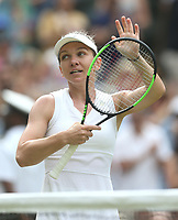 Simona Halep (ROU) celebrates after winning her match against Victoria Azarenka (BLR) in their Ladies' Singles Third Round match<br /> <br /> Photographer Rob Newell/CameraSport<br /> <br /> Wimbledon Lawn Tennis Championships - Day 5 - Friday 5th July 2019 -  All England Lawn Tennis and Croquet Club - Wimbledon - London - England<br /> <br /> World Copyright © 2019 CameraSport. All rights reserved. 43 Linden Ave. Countesthorpe. Leicester. England. LE8 5PG - Tel: +44 (0) 116 277 4147 - admin@camerasport.com - www.camerasport.com