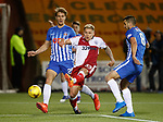 Martyn Waghorn gets between Kristoffer Ajer and Gary Dicker to shoot