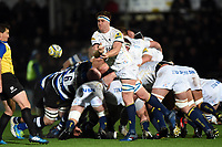 GJ van Velze of Worcester Warriors passes the ball. Aviva Premiership match, between Worcester Warriors and Bath Rugby on January 5, 2018 at Sixways Stadium in Worcester, England. Photo by: Patrick Khachfe / Onside Images