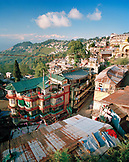 INDIA, West Bengal, residential buildings in Darjeeling with the Himalayas in the background