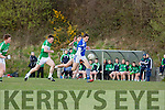 David Moran  Kerins O'Rahillys powers past Legions Shaun Keane and Jack O'Neill during their club championship clash in Derreen on Saturday evening