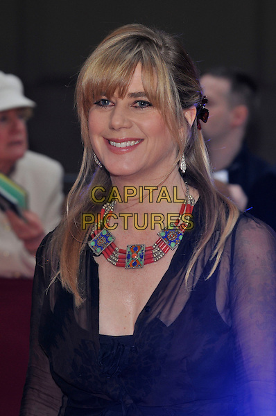 IMOGEN STUBBS .The Galaxy British Book Awards held at the Grosvenor Hotel, Park Lane, London, England. .April 9th 2008 .half length black sheer necklace beads beaded red blue green gold.CAP/PL.©Phil Loftus/Capital Pictures.