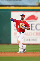 Buffalo Bisons shortstop Jio Mier (4) throws to first during a game against the Louisville Bats on June 20, 2016 at Coca-Cola Field in Buffalo, New York.  Louisville defeated Buffalo 4-1.  (Mike Janes/Four Seam Images)