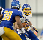 BROOKINGS, SD - APRIL 23:  Clark Wieneke #25 from South Dakota State looks to make a move against defender Brandon Thomas #38 during their Spring Game Saturday afternoon at the Sanford Jackrabbit Athletic Complex in Brookings.  (Photo by Dave Eggen/Inertia)