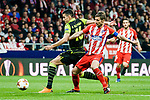 Gabriel Fernandez Arenas, Gabi, of Atletico de Madrid (R) fights for the ball with Rodrigo Battaglia of Sporting CP (L)  during the UEFA Europa League quarter final leg one match between Atletico Madrid and Sporting CP at Wanda Metropolitano on April 5, 2018 in Madrid, Spain. Photo by Diego Souto / Power Sport Images