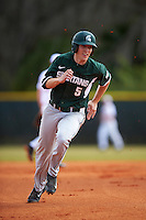 Michigan State Spartans second baseman Jordan Zimmerman (5) running the bases during a game against the Illinois State Redbirds on March 8, 2016 at North Charlotte Regional Park in Port Charlotte, Florida.  Michigan State defeated Illinois State 15-0.  (Mike Janes/Four Seam Images)