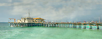 Santa Monica CA People Strolling on Pacific Park Pier Panorama, Ocean, Aqua, Beautiful Day CGI Backgrounds, ,Beautiful Background