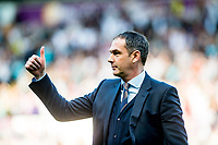Manager of Swansea City, Paul Clement gestures after final whistle of the Premier League match between Swansea City and West Bromwich Albion at The Liberty Stadium, Swansea, Wales, UK. Sunday 21 May 2017 (Photo by Athena Pictures/Getty Images)