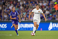 Orlando, FL - Saturday March 24, 2018: Utah Royals forward Katie Stengel (24) is pressured by Orlando Pride midfielder Dani Weatherholt (17) during a regular season National Women's Soccer League (NWSL) match between the Orlando Pride and the Utah Royals FC at Orlando City Stadium. The game ended in a 1-1 draw.