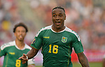Neil Danns (16) of Guyana celebrates his second half goal against Trinidad and Tobago during their Gold Cup match on June 26, 2019 at Children's Mercy Park in Kansas City, KS.<br /> Tim VIZER/AFP