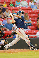 Drew Hedman #47 of the Greenville Drive follows through on his swing against the Hickory Crawdads at L.P. Frans Stadium on September 3, 2011 in Hickory, North Carolina.  The Crawdads defeated the Drive 3-0.  (Brian Westerholt / Four Seam Images)