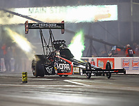 Apr 20, 2018; Baytown, TX, USA; NHRA top fuel driver Leah Pritchett experiences tire shake during qualifying for the Springnationals at Royal Purple Raceway. Mandatory Credit: Mark J. Rebilas-USA TODAY Sports