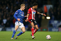 Bruno Andrade of Lincoln City and Flynn Downes of Ipswich Town during Ipswich Town vs Lincoln City, Emirates FA Cup Football at Portman Road on 9th November 2019