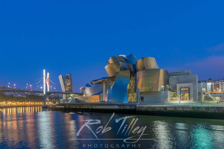 Spain, Bilbao, Guggenheim Museum Bilbao at Twilight