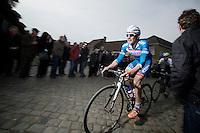Jempy Drucker (LUX/Wanty-GroupeGobert) up the Oude Kwaremont<br /> <br /> Dwars Door Vlaanderen 2014